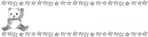 ネットショップ、webデザインのフリー素材:手描き鉛筆風の大人可愛いモノクロのパンダと星のヘッダー画像(800×200pix)