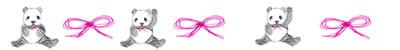 ネットショップ、webデザインの飾り罫:手描き鉛筆風の大人可愛いモノクロのパンダとピンクのりぼんの飾り罫(罫線・ライン)