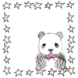 バナー広告、アイコンのフレーム素材:手描き鉛筆風の大人可愛いモノクロのパンダと星の飾り枠。Square Pop-Up(250pix)のwebデザイン素材