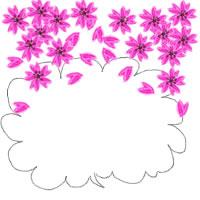 ガーリーな吹出しと大人可愛い桜いっぱいの飾り枠のバナー広告、アイコンのwebデザイン素材(フリー素材200 × 200pix)