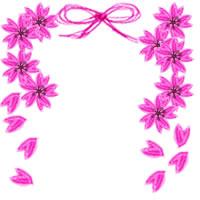 大人可愛いピンクの桜とガーリーなリボンの飾り枠。ネットショップ、バナー広告のwebデザイン素材(フリー素材200×200pix)