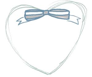 パステルブルーのストライプのリボンとハートのガーリーな飾り枠。バナー広告、webデザインのフリー素材(300×250pix)