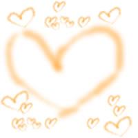 アイコン(twitter,mixi,ブログ)、壁紙のフリー素材:大人可愛いオレンジのハートいっぱいの飾り枠のwebデザイン素材(200×200pix)
