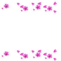 アイコン、バナー広告、webデザイン素材:桜の花と花びらのラインのイラストのガーリーな飾り枠(200×200pix)