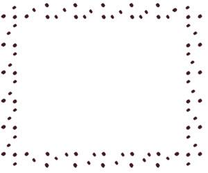 バナー広告、webデザインのフリー素材:あずき色のラフな水玉のフレーム(飾り枠)(300×250pix)