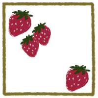 アイコン(twitter,mixi,ブログ)のフリー素材:大人可愛いイチゴと芥子色の枠のwebデザイン素材