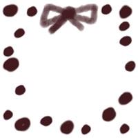 ネットショップ、バナー広告のwebデザイン素材:ラブリーな茶色の水玉と大人可愛いリボンの飾り枠のフリー素材(200×200pix)