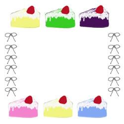 バナー広告、アイコンのフリー素材:カラフルで大人かわいいイチゴショートケーキとリボンの飾り枠のwebデザイン素材。スクエアポップアップ(250pix)