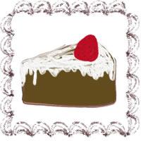 バナー広告、アイコンのwebデザイン素材(200×200pix):大人可愛い茶色のクリームみたいなレトロな飾り枠との苺ショートケーキのフリー素材