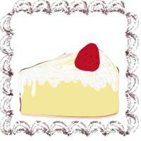 バナー広告、アイコンのwebデザイン素材(200×200pix):大人可愛い茶色のクリームみたいなレトロな飾り枠と苺ショートケーキのフリー素材