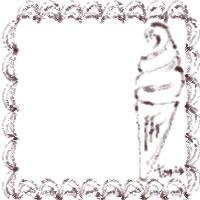バナー広告、アイコン(twitter,mixi)のwebデザイン素材:茶色のクリームみたいなレトロな飾り枠とソフトクリームのイラストのフリー素材