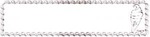 ネットショップ、webデザインのフリー素材:茶色のクリームみたいなレトロな飾り枠とソフトクリームのヘッダーの背景画像(800×200pix)