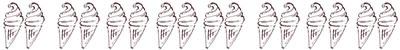 ネットショップ、webデザインの飾り罫のフリー素材:大人可愛いソフトクリームのイラストの飾り罫