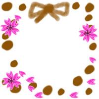 ネットショップ、バナー広告のwebデザイン素材:ガーリーな桜と茶色の水玉とリボンのアイコン(twitter,mixi)のフリー素材(200×200pix)