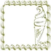 バナー広告、アイコン(twitter,mixi)のwebデザイン素材:大人可愛いくすんだ緑色のレトロな飾り枠とソフトクリームのイラストのフリー素材(200×200pix)