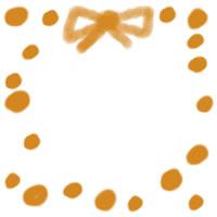 バナー広告、アイコン(twitter,mixi)のwebデザイン素材:大人可愛いオレンジの水玉とリボンのwebデザイン素材のイラストのフリー素材(200×200pix)