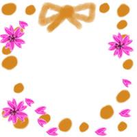 ネットショップ、バナー広告のwebデザイン素材:大人可愛いオレンジの水玉とリボンと桜の飾り枠。アイコン(twitter,mixi)のフリー素材(200×200pix)