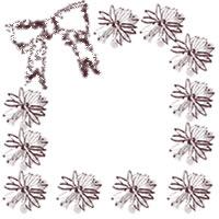 ネットショップ、バナー広告のwebデザイン素材:ガーリーな茶色の花(マーガレット)とリボンの飾り枠。アイコン(twitter,mixi)のフリー素材(200×200pix)