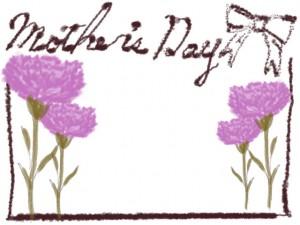 母の日のバナー広告、ネットショップのwebデザイン素材:大人可愛いリボンとカーネーションと「mother's day」の手書き文字の飾り枠(640×480pix)