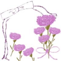 バナー広告、ネットショップのwebデザイン素材:大人可愛いピンクの花(カーネーション)とガーリーなリボン。母の日の飾り枠のフリー素材(200×200pix)