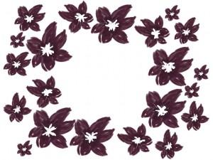 バナー広告、ネットショップのwebデザイン素材:ガーリーで大人かわいい紫の花の丸形の飾り枠のフレーム素材(640×480pix)