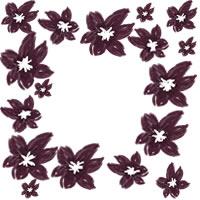 ネットショップ、バナー広告のwebデザイン素材:大人可愛い紫の花いっぱいの飾り枠。アイコン(母の日,父の日)のwebデザインに(200×200pix)