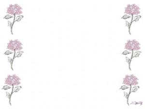 バナー広告、ネットショップのwebデザイン素材:大人可愛いピンク色の花(あじさい)いっぱいの飾り枠のフレーム素材(640×480pix)