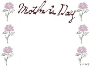 バナー広告、ネットショップのwebデザイン素材:大人可愛い花(あじさい)と「mother's day」の文字の飾り枠のフレーム素材(640×480pix)