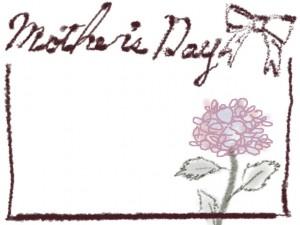 バナー広告、ネットショップのwebデザイン素材:大人可愛い花(あじさい)と「mother's day」の手描き文字とリボンの飾り枠のフレーム素材(640×480pix)