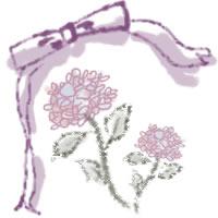 ネットショップ、バナー広告のwebデザイン素材:大人可愛い紫の花(あじさい)とリボン(あじさい)とリボン。アイコン(母の日,父の日)のwebデザインに(200×200pix)