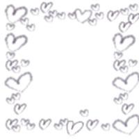アイコン(twitter,mixi,ブログ)のフリー素材:大人可愛いモノクロのハートいっぱいのイラストの飾り枠のアイコンのwebデザイン素材(200×200pix)