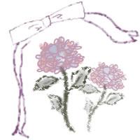 ネットショップ、バナー広告のwebデザイン素材:ピンクの花(あじさい)と大人可愛いリボン。アイコン(5月,6月)のwebデザインに(200×200pix)