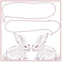 ネットショップ、バナー広告のwebデザイン素材:大人可愛い紫の2匹のうさぎとフキダシ。アイコン(twitter,mixi,)のwebデザインに(200×200pix)
