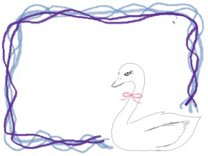 ガーリーな白鳥のwebデザイン素材:バナー広告、ネットショップの飾り枠、フレーム素材(640×480pix)