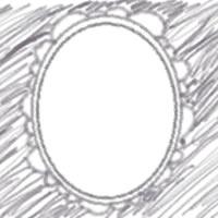 ネットショップ、バナー広告のアイコンのwebデザイン素材:ガーリーなモノクロの花びらみたいなフレームのアイコン(twitter,mixi)のwebデザインに(200×200pix)