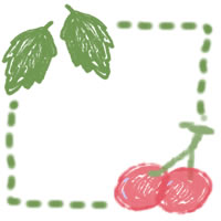 ネットショップ、バナー広告のアイコン(twitter,mixi)のwebデザイン素材:ガーリーなさくらんぼと葉っぱと点線の飾り枠(200×200pix)