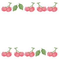 ネットショップ、バナー広告のアイコン(twitter,mixi)のwebデザイン素材:ガーリーなさくらんぼと葉っぱの罫線の飾り枠(200×200pix)