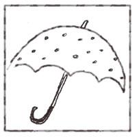ネットショップ、バナー広告のアイコンのwebデザイン素材:ガーリーなモノクロの水玉の傘のアイコン(twitter,mixi)のwebデザインに(200×200pix)