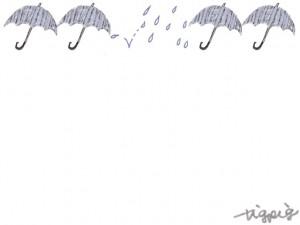 バナー広告、ネットショップのwebデザイン素材:大人可愛い雨とストライプ柄の傘の6月のイラストのフレーム(640×480pix)
