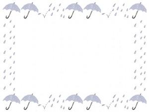 6月のwebデザイン、バナー広告、ネットショップのフリー素材:大人可愛い雨と水色の傘と破線の囲み枠のイラストのフレーム(640×480pix)