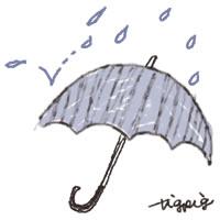 6月のバナー広告、アイコン(twitter,mixi)のwebデザイン素材:ガーリーな水色のストライプの傘と雨のイラストのフリー素材(200×200pix)