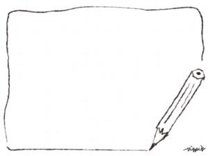 webデザイン、バナー広告、ネットショップのフリー素材:大人可愛い鉛筆と線のフレーム(640×480pix)