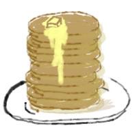 ネットショップ、バナー広告のアイコン(twitter,mixi)、webデザイン素材:ガーリーな10枚重ねのホットケーキのアイコン(200×200pix)