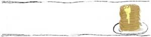 ネットショップ、webデザインのフリー素材:10枚重ねのホットケーキと手描き風モノクロのラインのヘッダー画像