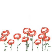 web制作、ネットショップ運営、バナー広告のアイコン(twitter,mixi)、webデザイン素材:ガーリーな赤い花のフレーム(200×200pix)