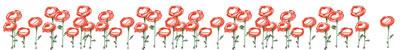 web制作、ネットショップ運営、webデザインの飾り罫のフリー素材:大人可愛い赤い花の飾り罫