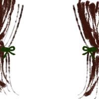 バナー広告、webデザインのアイコン素材(twitter,mixi可):ガーリーなこげ茶(ブラウンブラック)のカーテンのフレーム(200×200pix)
