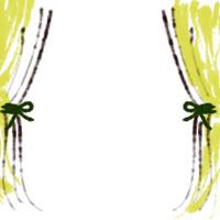 バナー広告、アイコン(twitter,mixi)、web制作、ネットショップ運営のwebデザイン素材:ガーリーな黄色のカーテンのフレーム(200×200pix)