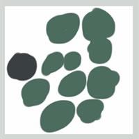 web制作、ネットショップ運営、webデザインのフリー素材:アイコン(twitter,mixi);大人かわいい抹茶色の北欧風の花みたいな水玉のイラスト(枠付き)