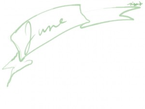 web制作、ネットショップのwebデザイン素材:大人可愛いパステルグリーンのJune(6月)の手書き文字とガーリーなリボンのフレームのフリー素材(640×480pix)